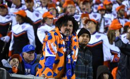 Dec 21, 2019; Las Vegas, Nevada, USA; A Boise Broncos fan in costume is pictured during the second half of the Las Vegas Bowl at Sam Boyd Stadium. Mandatory Credit: Stephen R. Sylvanie-USA TODAY Sports