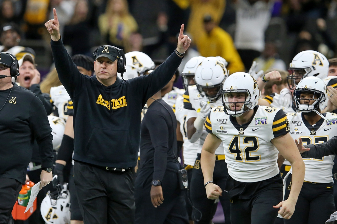 Appalachian State Mountaineers head coach Shawn Clark coaches in the second half of the New Orleans Bowl against the UAB Blazers at the Mercedes-Benz Superdome. Mandatory Credit: Chuck Cook-USA TODAY Sports