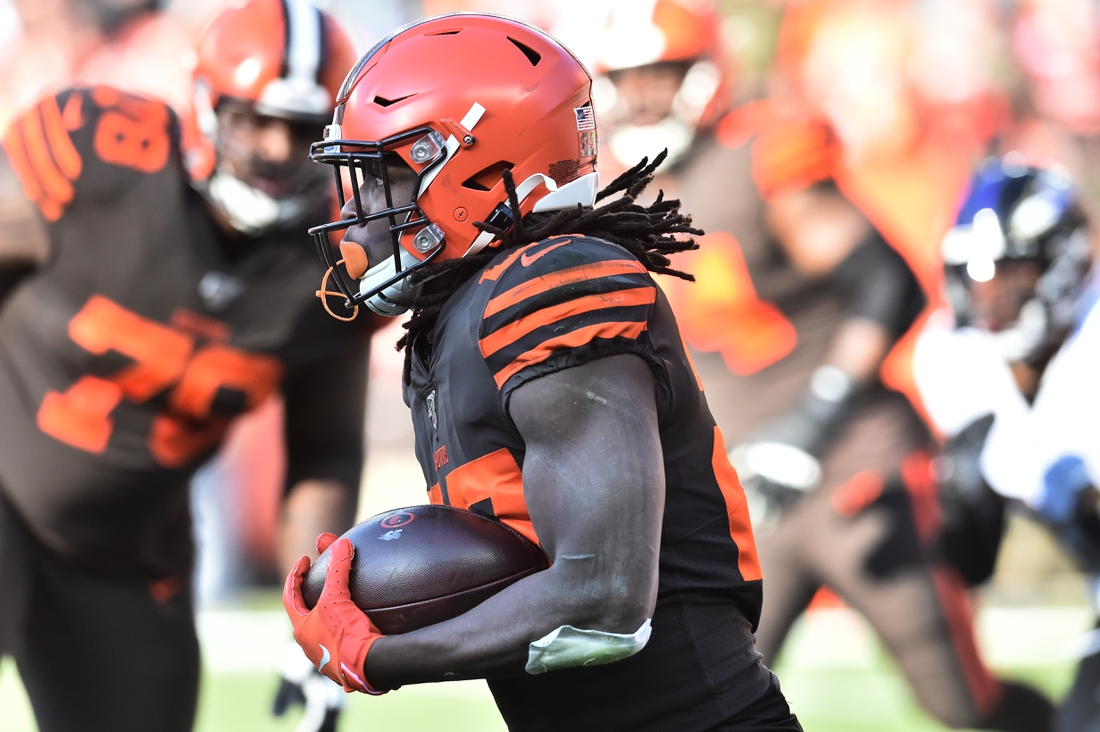 Dec 22, 2019; Cleveland, Ohio, USA; Cleveland Browns running back Kareem Hunt (27) runs with the ball during the first half against the Baltimore Ravens at FirstEnergy Stadium. Mandatory Credit: Ken Blaze-USA TODAY Sports