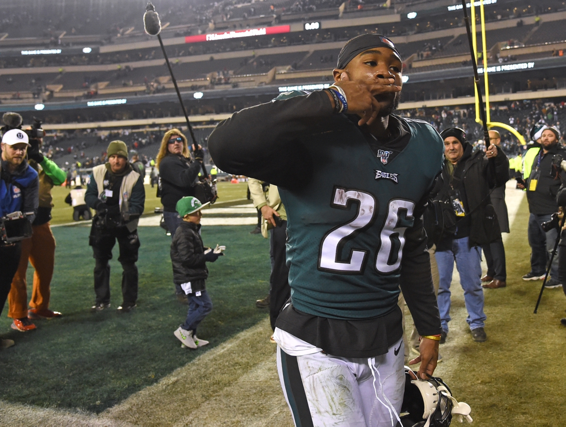 Dec 22, 2019; Philadelphia, Pennsylvania, USA; Philadelphia Eagles running back Miles Sanders (26) blows a kiss to the fans after win against the Dallas Cowboys at Lincoln Financial Field. Mandatory Credit: Eric Hartline-USA TODAY Sports