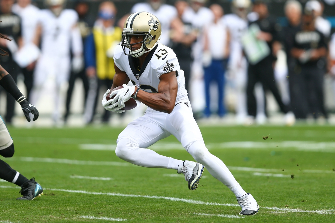 Dec 29, 2019; Charlotte, North Carolina, USA; New Orleans Saints wide receiver Michael Thomas (13) runs after a reception in the first quarter against the Carolina Panthers at Bank of America Stadium. Mandatory Credit: Jeremy Brevard-USA TODAY Sports