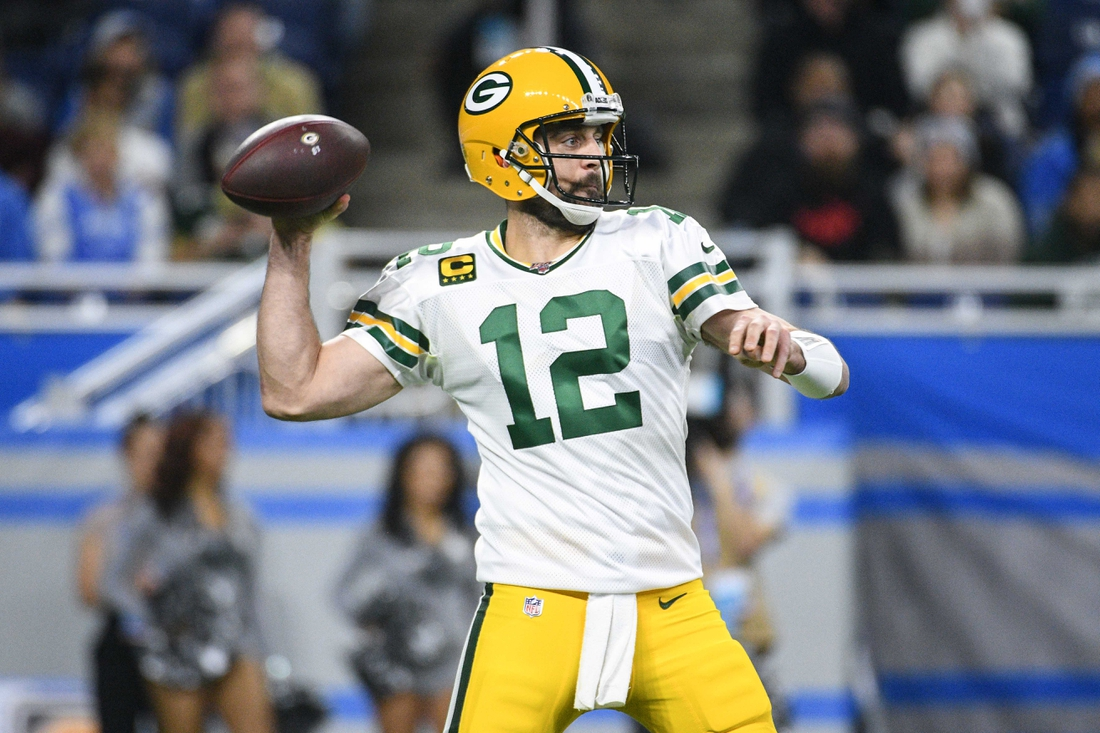Dec 29, 2019; Detroit, Michigan, USA; Green Bay Packers quarterback Aaron Rodgers (12) throws the ball during the first quarter against the Detroit Lions at Ford Field. Mandatory Credit: Tim Fuller-USA TODAY Sports