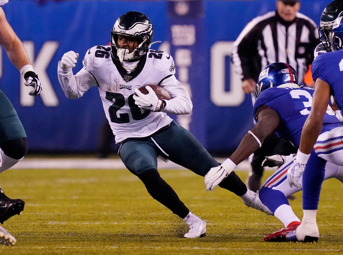 Dec 29, 2019; East Rutherford, New Jersey, USA; Philadelphia Eagles running back Miles Sanders (26) runs the ball against the New York Giants in the first half at MetLife Stadium. Mandatory Credit: Robert Deutsch-USA TODAY Sports