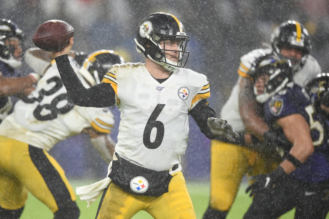 Dec 29, 2019; Baltimore, Maryland, USA;  Pittsburgh Steelers quarterback Devlin Hodges (6) throws a pass on the fourth quarter against the Baltimore Ravens at M&T Bank Stadium. Mandatory Credit: Mitchell Layton-USA TODAY Sports