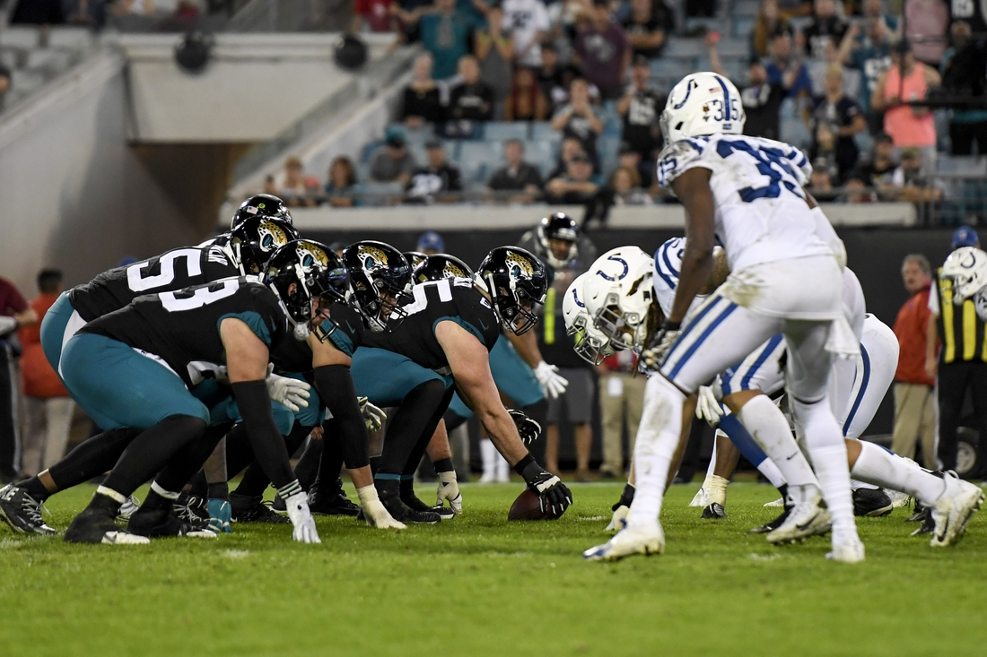 Dec 29, 2019; Jacksonville, Florida, USA; Jacksonville Jaguars center Brandon Linder (65) looks to snap the ball during the fourth quarter against the Indianapolis Colts at TIAA Bank Field. Mandatory Credit: Douglas DeFelice-USA TODAY Sports
