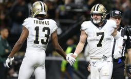 Wide receiver Michael Thomas (13) injured his ankle in Sunday's game against the Tampa Bay Buccaneers. Mandatory Credit: Chuck Cook -USA TODAY Sports