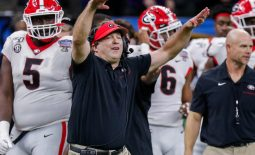 Jan 1, 2020; New Orleans, Louisiana, USA;  Georgia Bulldogs head coach Kirby Smart reacts to a play against Baylor Bears at Mercedes-Benz Superdome. Mandatory Credit: Stephen Lew-USA TODAY Sports