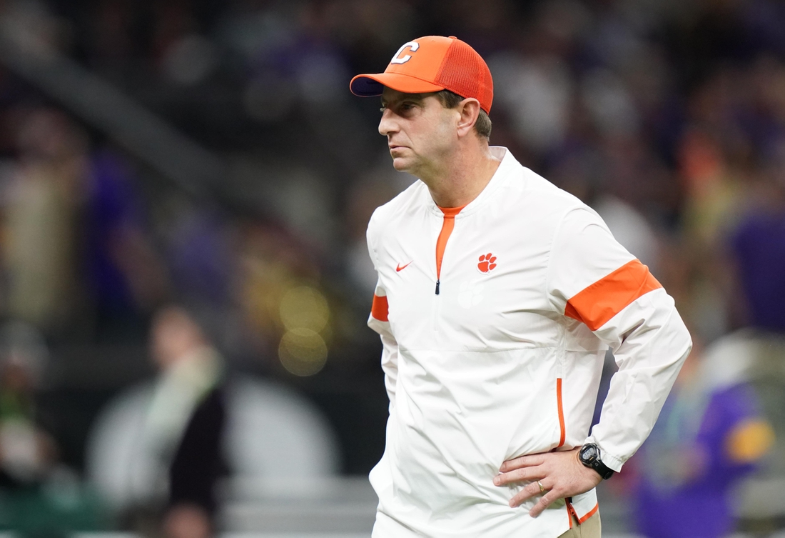 Jan 13, 2020; New Orleans, Louisiana, USA; Clemson Tigers head coach Dabo Swinney before the College Football Playoff national championship game against the LSU Tigers at Mercedes-Benz Superdome. Mandatory Credit: Kirby Lee-USA TODAY Sports