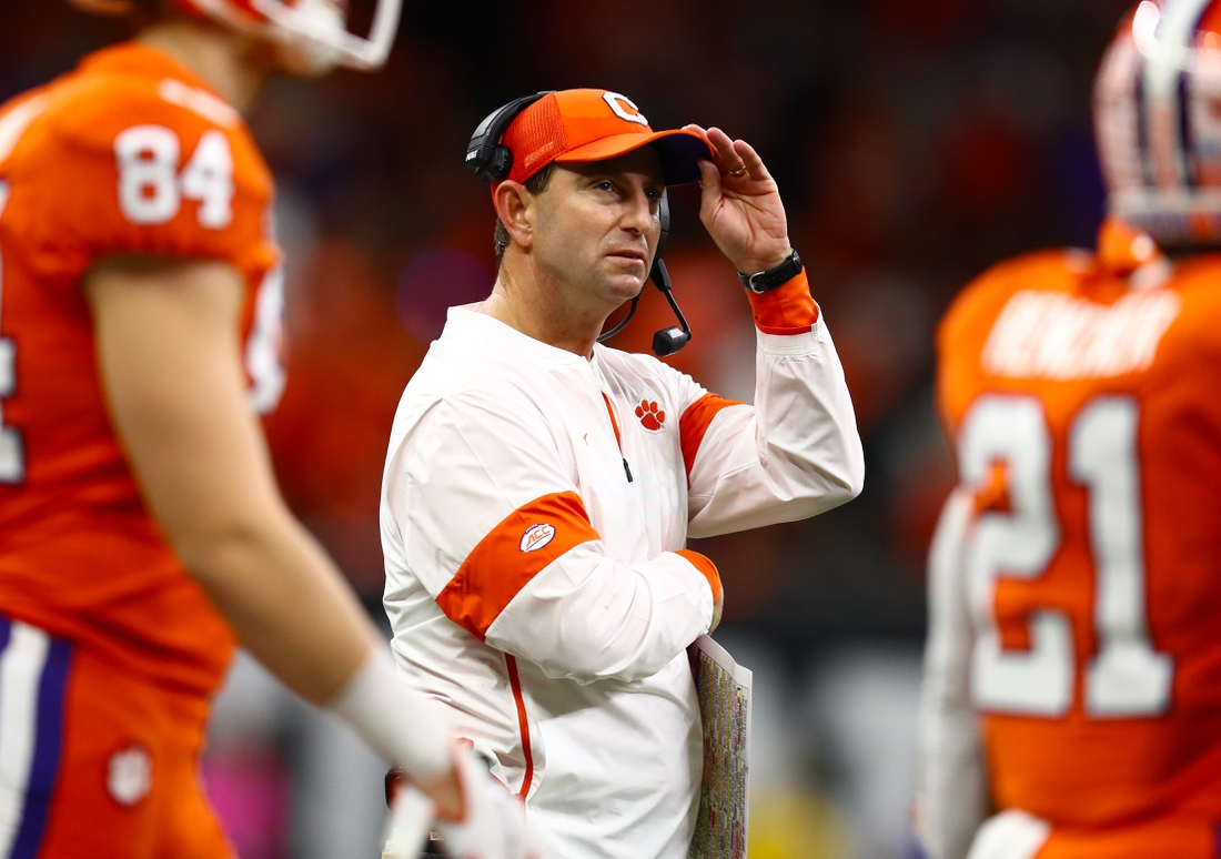 Jan 13, 2020; New Orleans, Louisiana, USA; Clemson Tigers head coach Dabo Swinney on the sidelines during the game against the LSU Tigers in the College Football Playoff national championship game at Mercedes-Benz Superdome. Mandatory Credit: Matthew Emmons-USA TODAY Sports