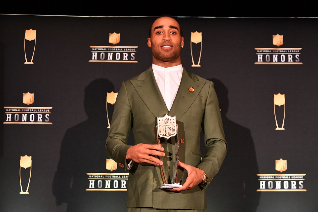 Feb 1, 2020; Miami, Florida, USA; New England Patriots Stephon Gilmore poses for a photo after receiving the AP Defensive Player of the Year presented by Old Spice during the NFL Honors awards presentation at Adrienne Arsht Center. Mandatory Credit: Jasen Vinlove-USA TODAY Sports