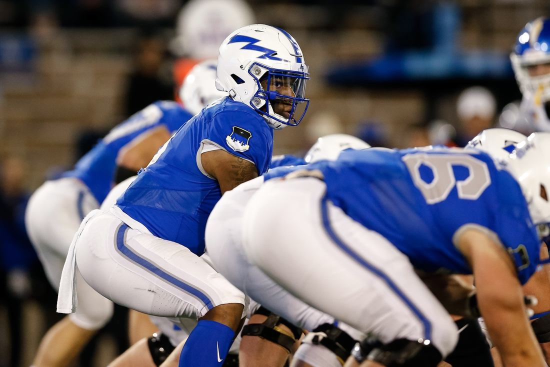 Sep 27, 2019; Colorado Springs, CO, USA; Air Force Falcons quarterback Donald Hammond III (5) in the third quarter against the San Jose State Spartans at Falcon Stadium. Mandatory Credit: Isaiah J. Downing-USA TODAY Sports