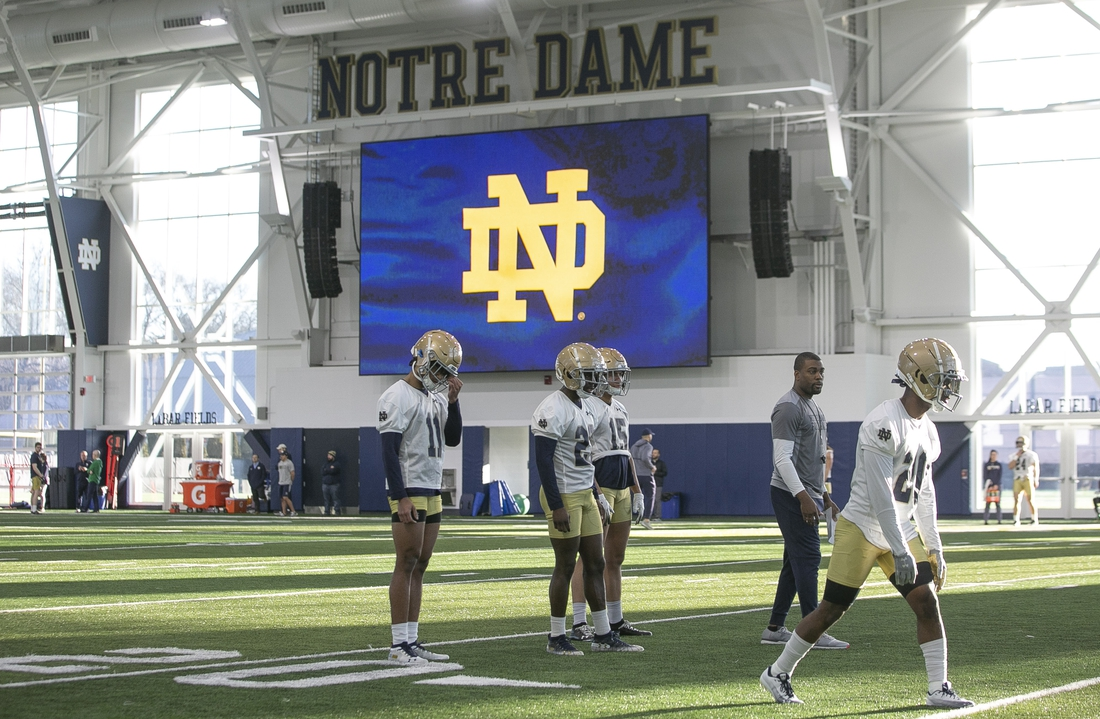 March 5, 2020; South Bend, IN, USA; Notre Dame held their first spring football practice at the Irish Athletics Center. Mandatory Credit: Santiago Flores/South Bend Tribune via USA TODAY NETWORK