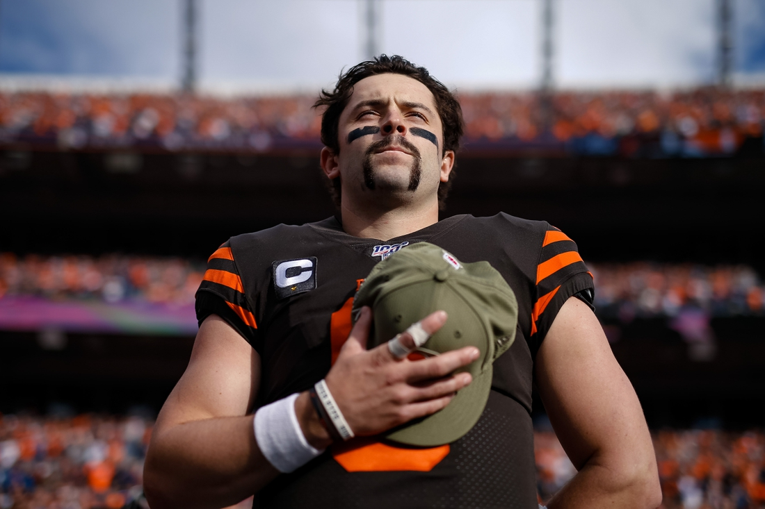 Nov 3, 2019; Denver, CO, USA; Cleveland Browns quarterback Baker Mayfield (6) during the National Anthem before the game against the Denver Broncos at Empower Field at Mile High. Mandatory Credit: Isaiah J. Downing-USA TODAY Sports