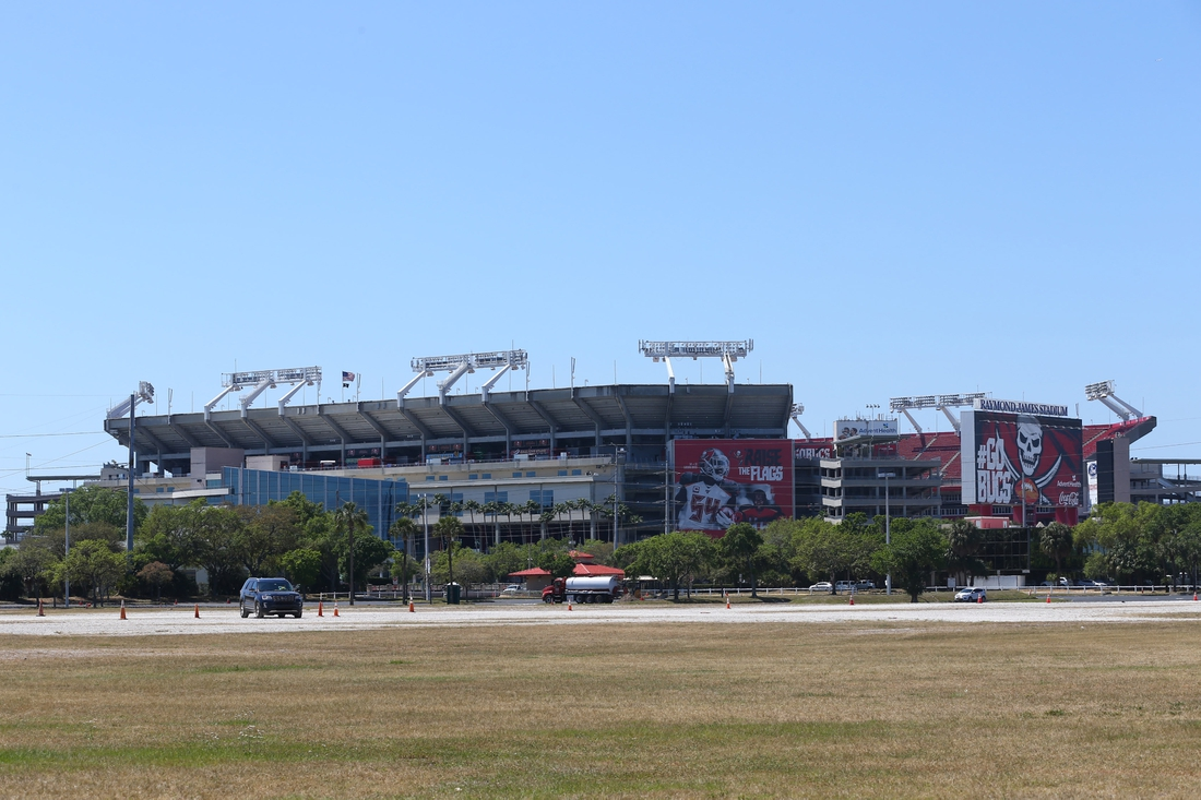 Mar 18, 2020; Tampa, Florida, USA;A general view of Raymond James Stadium at AdventHealth Training Center. Mandatory Credit: Kim Klement-USA TODAY Sports