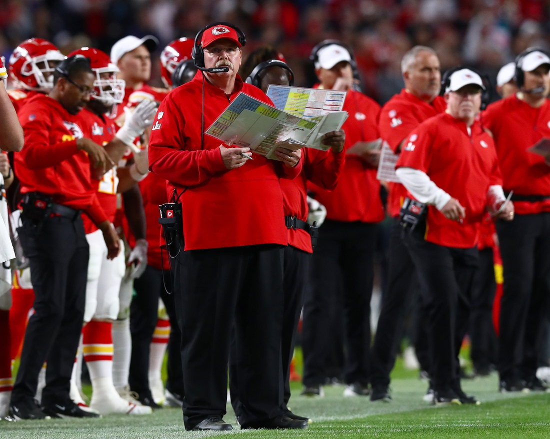 Feb 2, 2020; Miami Gardens, Florida, USA; Kansas City Chiefs head coach Andy Reid on the sidelines during the game against the San Francisco 49ers in Super Bowl LIV at Hard Rock Stadium. Moore was called for pass interference on the play. Mandatory Credit: Matthew Emmons-USA TODAY Sports