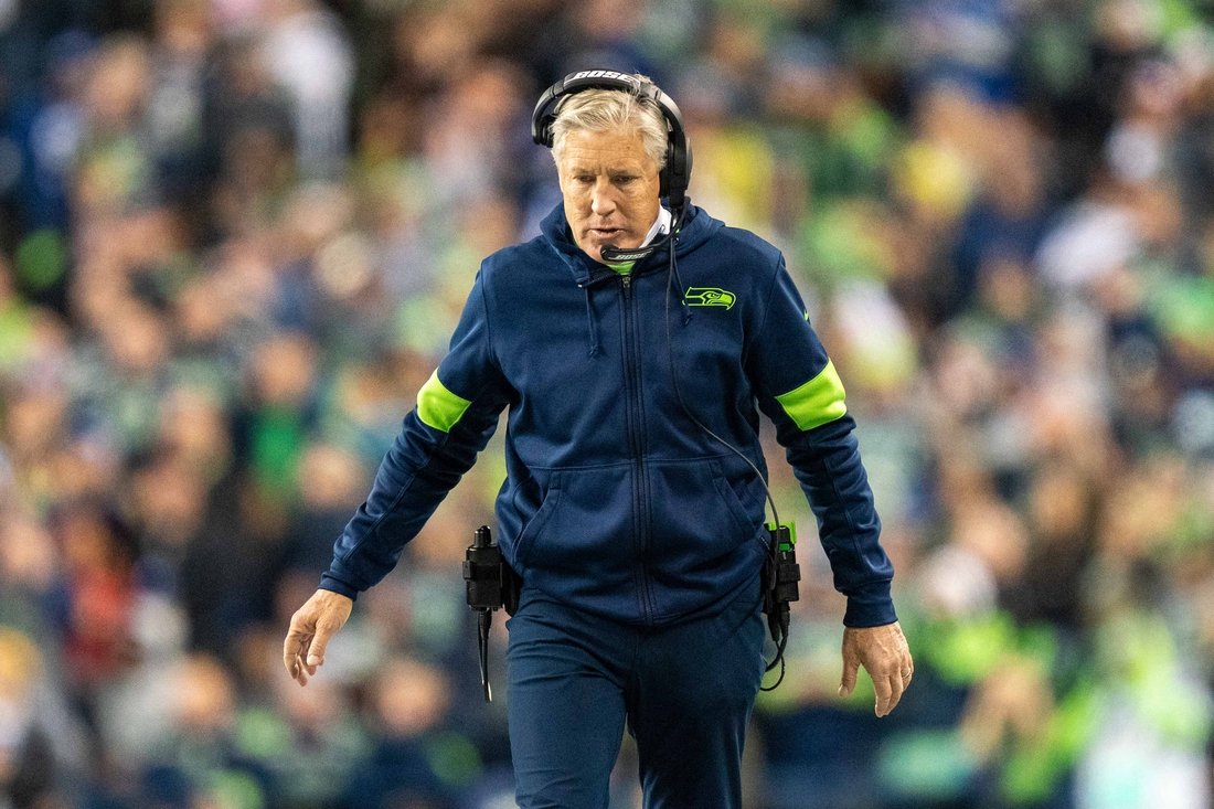 December 29, 2019; Seattle, Washington, USA; Seattle Seahawks head coach Pete Carroll during the second quarter against the San Francisco 49ers at CenturyLink Field. Mandatory Credit: Kyle Terada-USA TODAY Sports