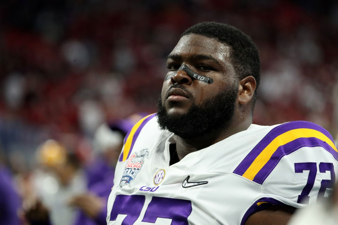 Dec 28, 2019; Atlanta, Georgia, USA; LSU Tigers nose tackle Tyler Shelvin (72) warms up before the 2019 Peach Bowl college football playoff semifinal game between the LSU Tigers and the Oklahoma Sooners at Mercedes-Benz Stadium. Mandatory Credit: Jason Getz-USA TODAY Sports