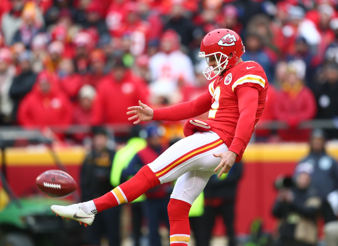 Jan 12, 2020; Kansas City, Missouri, USA; Kansas City Chiefs punter Dustin Colquitt (2) against the Houston Texans in the AFC Divisional Round playoff football game at Arrowhead Stadium. Mandatory Credit: Mark J. Rebilas-USA TODAY Sports