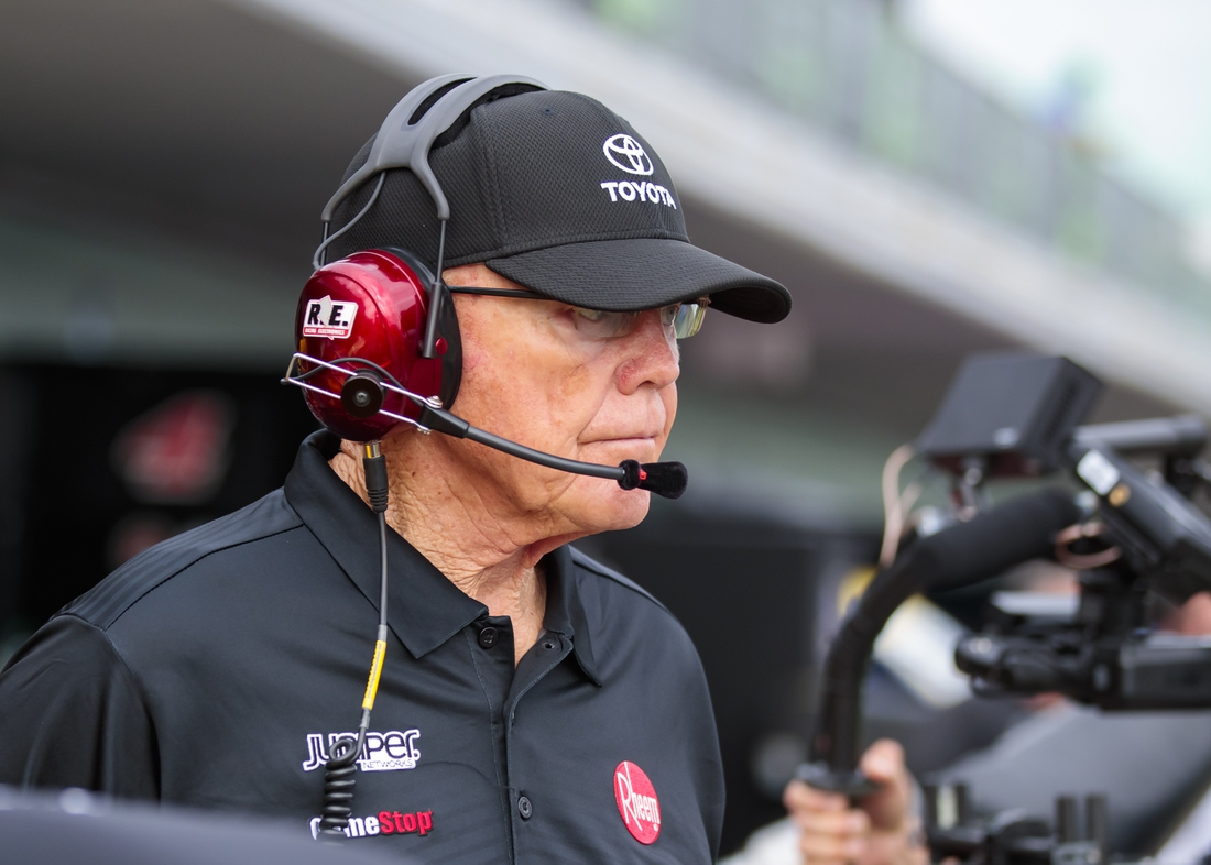 Nov 17, 2018; Homestead Florida, FL, USA; NASCAR team owner Joe Gibbs during practice for the Ford EcoBoost 400 at Homestead-Miami Speedway. Mandatory Credit: Mark J. Rebilas-USA TODAY Sports
