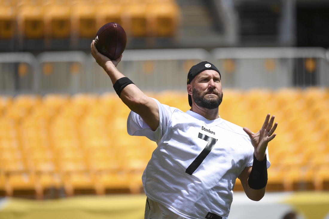 Aug 4, 2020;  Pittsburgh, PA, USA; Pittsburgh Steelers quarterback Ben Roethlisberger (7) trains at Heinz Field during the Steelers 2020 Training Camp, Tuesday, Aug. 4, 2020 in Pittsburgh, PA.  Mandatory Credit: Karl Roser/Pittsburgh Steelers via USA TODAY Sports