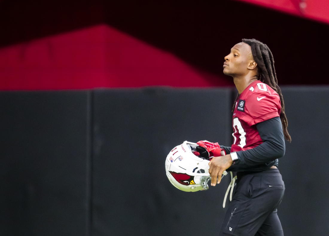 Aug 12, 2020; Glendale, Arizona, USA; Arizona Cardinals wide receiver DeAndre Hopkins (10) during training camp at State Farm Stadium. Mandatory Credit: Mark J. Rebilas-USA TODAY Sports
