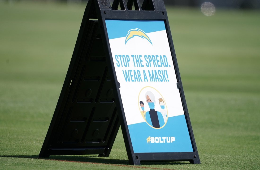 Aug 14, 2020; Costa Mesa, California, USA; A face mask advisory sign with the hashtag #boltup at Los Angeles Chargers training camp at the Jack Hammett Sports Complex. Mandatory Credit: Kirby Lee-USA TODAY Sports