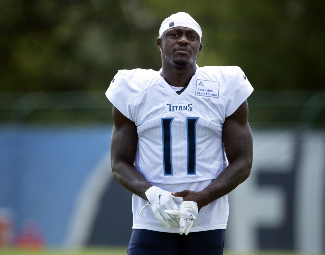 Aug 20, 2020; Nashville, TN, USA; Tennessee Titans wide receiver A.J. Brown (11) gets ready for a training camp practice at Saint Thomas Sports Park Thursday, Aug. 20, 2020 in Nashville, Tenn. Mandatory Credit: George Walker IV/The Tennessean via USA TODAY NETWORK