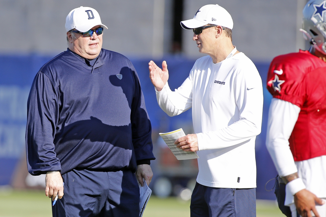 Aug 21, 2020; Frisco, TX, USA; Coach Mike McCarthy with coach Doug Nussmeier (right) of the Dallas Cowboys during training camp at Ford Center at The Star in Frisco, Texas.   Mandatory credit: Hand out James D. Smith/Dallas Cowboys/Handout photo-USA TODAY Sports