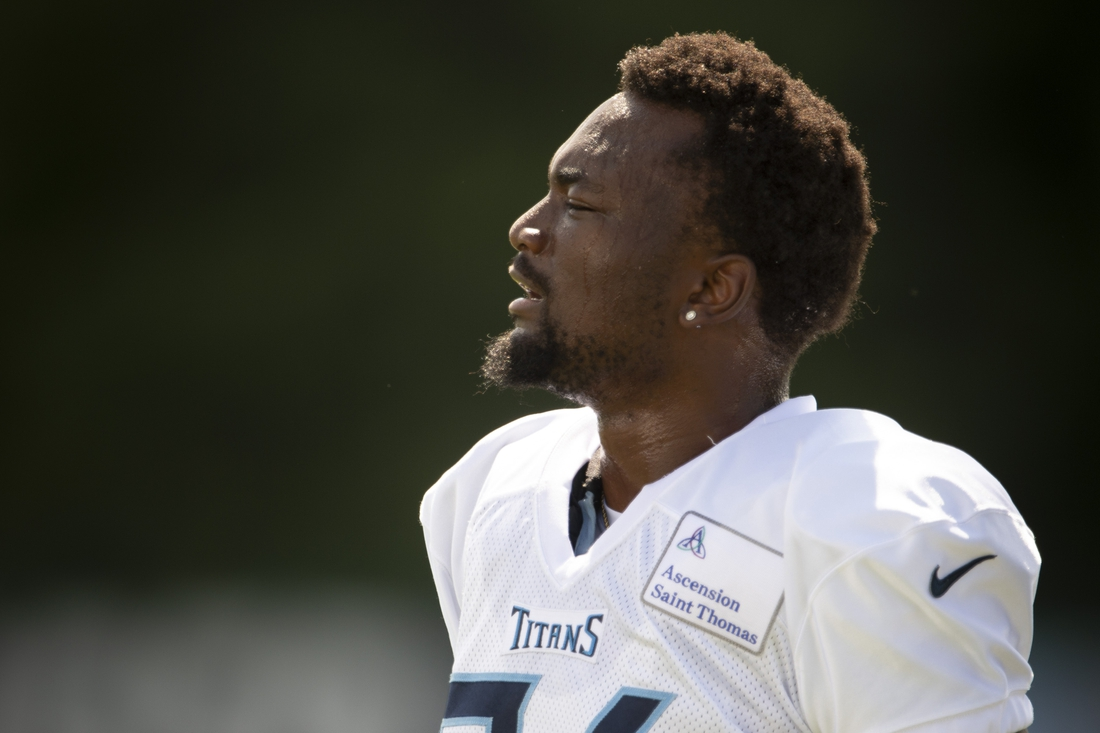 Aug 25, 2020; Nashville, TN, USA; Tennessee Titans wide receiver Corey Davis (84) rests on the sideline during a training camp practice at Saint Thomas Sports Park Tuesday, Aug. 25, 2020  Nashville, Tenn.   Mandatory Credit:  George Walker IV /  The Tennessean-USA TODAY NETWORK