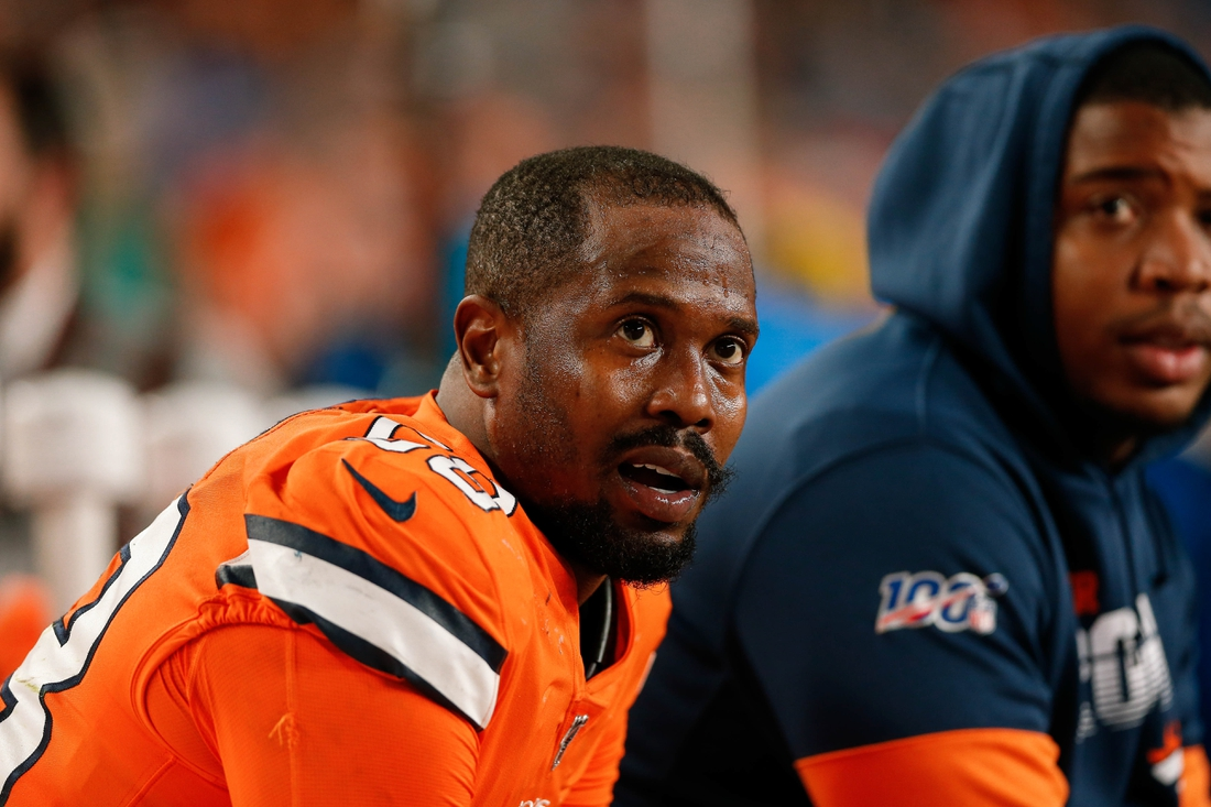 Dec 22, 2019; Denver, Colorado, USA; Denver Broncos outside linebacker Von Miller (58) on the bench in the fourth quarter against the Detroit Lions at Empower Field at Mile High. Mandatory Credit: Isaiah J. Downing-USA TODAY Sports