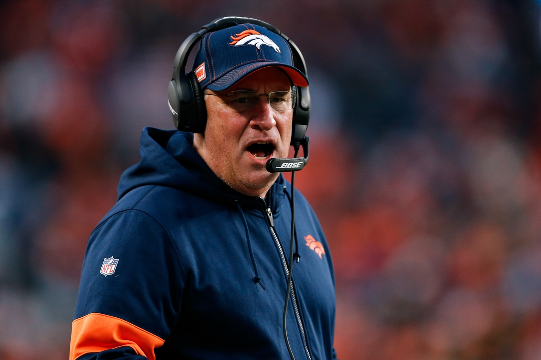 Dec 29, 2019; Denver, Colorado, USA; Denver Broncos head coach Vic Fangio in the third quarter against the Oakland Raiders at Empower Field at Mile High. Mandatory Credit: Isaiah J. Downing-USA TODAY Sports