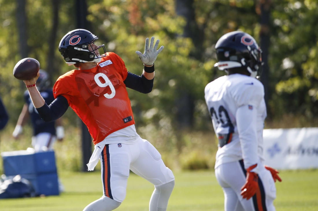 Sep 2, 2020; Lake Forest, Illinois, USA; Chicago Bears quarterback Nick Foles (9) looks to pass the ball during training camp at Halas Hall. Mandatory Credit: Kamil Krzaczynski-USA TODAY Sports