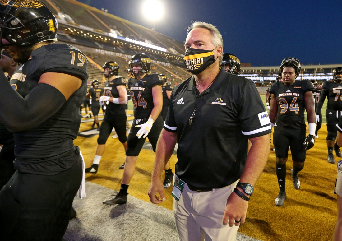 Sep 3, 2020; Hattiesburg, Mississippi, USA; Southern Mississippi Golden Eagles head coach Jay Hopson walks off the field after pre-game warmups before their game against the South Alabama Jaguars at M. M. Roberts Stadium. Mandatory Credit: Chuck Cook-USA TODAY Sports