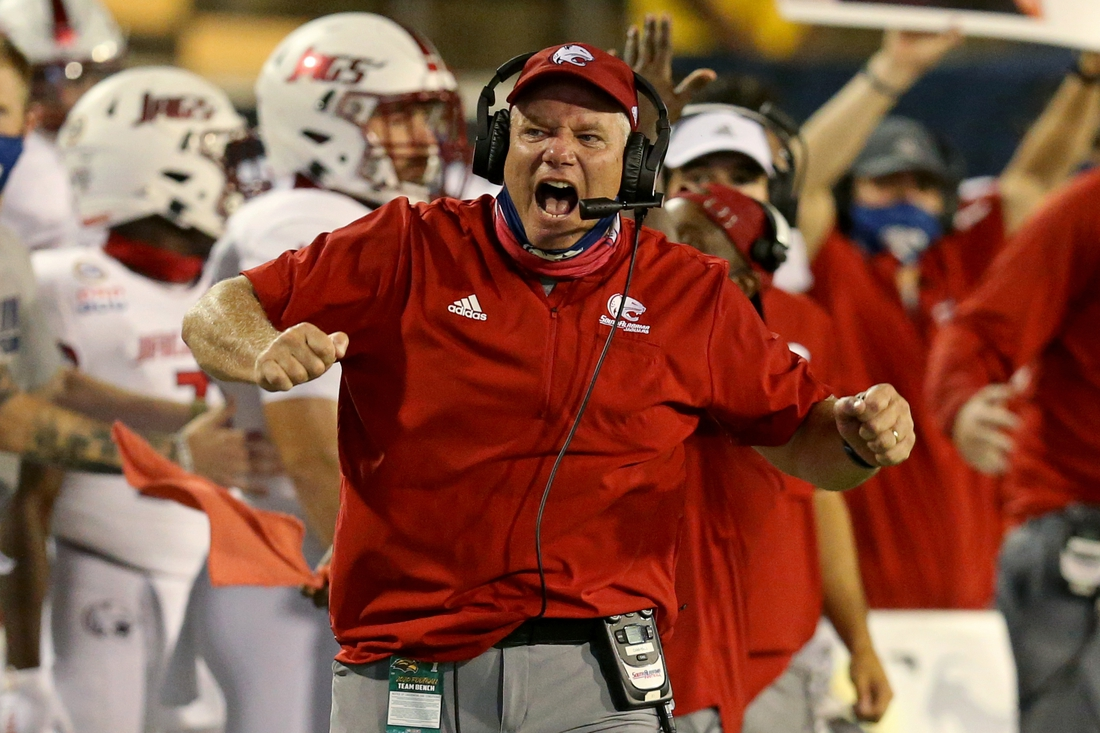 Sep 3, 2020; Hattiesburg, Mississippi, USA; South Alabama Jaguars head coach Steve Campbell gestures in the fourth quarter against the Southern Mississippi Golden Eagles at M. M. Roberts Stadium. Mandatory Credit: Chuck Cook-USA TODAY Sports