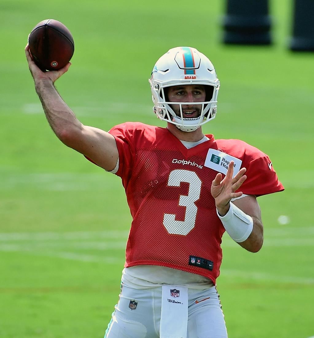 Sep 4, 2020; Miami Gardens, Florida, United States; Miami Dolphins quarterback Josh Rosen (3) attempts a pass during training camp at Baptist Health Training Facility. Mandatory Credit: Jasen Vinlove-USA TODAY Sports