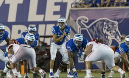 Sep 5, 2020; Memphis, Tennessee, USA; Memphis Tigers quarterback Brady White (3) during the second half against the Arkansas State Red Wolves at Liberty Bowl Memorial Stadium. Mandatory Credit: Justin Ford-USA TODAY Sports