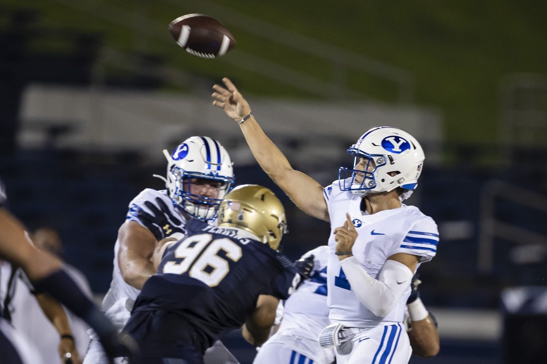 Sep 7, 2020; Annapolis, Maryland, USA; Brigham Young Cougars quarterback Zach Wilson (1) attempts a pass against the Navy Midshipmen during the first half at Navy-Marine Corps Memorial Stadium. Mandatory Credit: Scott Taetsch-USA TODAY Sports