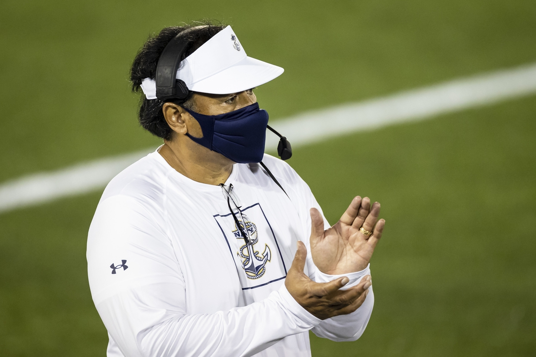 Sep 7, 2020; Annapolis, Maryland, USA; Navy Midshipmen head coach Ken Niumatalolo reacts during the second half of the game against the Brigham Young Cougars at Navy-Marine Corps Memorial Stadium. Mandatory Credit: Scott Taetsch-USA TODAY Sports
