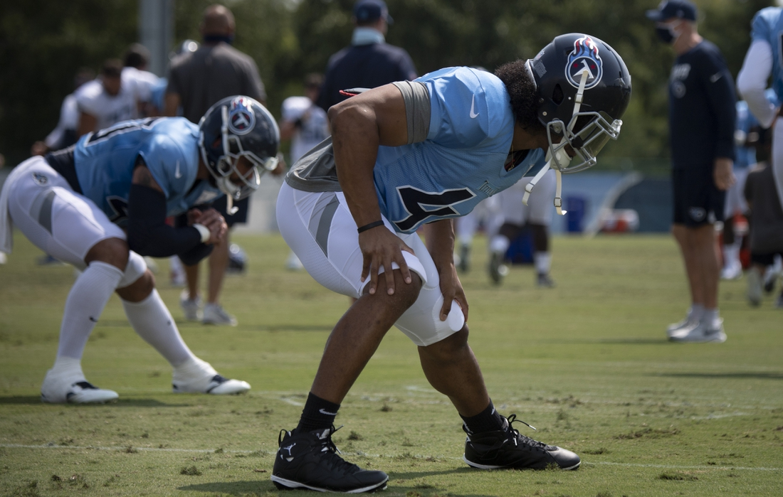 Sept 9, 2020; Nashville, TN, USA; Tennessee Titans outside linebacker Vic Beasley Jr. (44) warms up during practice at Saint Thomas Sports Park Wednesday, Sept. 9, 2020  Nashville, Tenn. Mandatory Credit: George Walker IV/The Tennessean via USA TODAY NETWORK