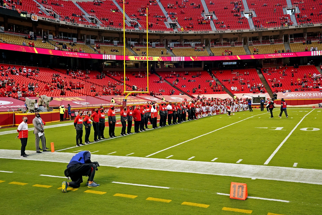 Sep 10, 2020; Kansas City, Missouri, USA; The Kansas City Chiefs stand on the goal line before the game against the Houston Texans at Arrowhead Stadium. Mandatory Credit: Denny Medley-USA TODAY Sports