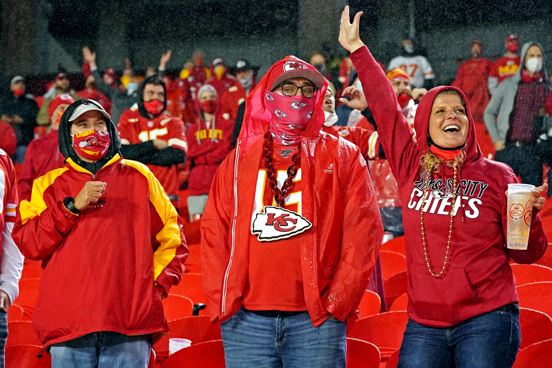 Sep 10, 2020; Kansas City, Missouri, USA; Kansas City Chiefs fans cheer during the second half against the Houston Texans at Arrowhead Stadium. Mandatory Credit: Denny Medley-USA TODAY Sports