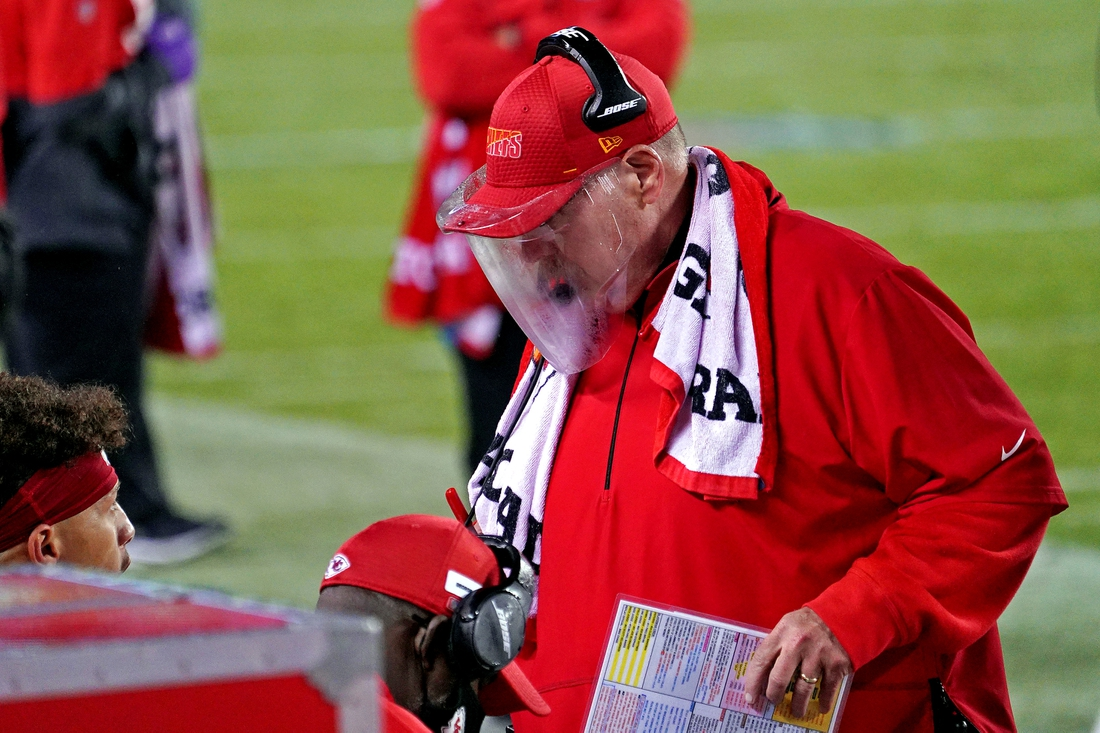Sep 10, 2020; Kansas City, Missouri, USA; Kansas City Chiefs head coach Andy Reid on the sidelines during the second half against the Houston Texans at Arrowhead Stadium. Mandatory Credit: Denny Medley-USA TODAY Sports