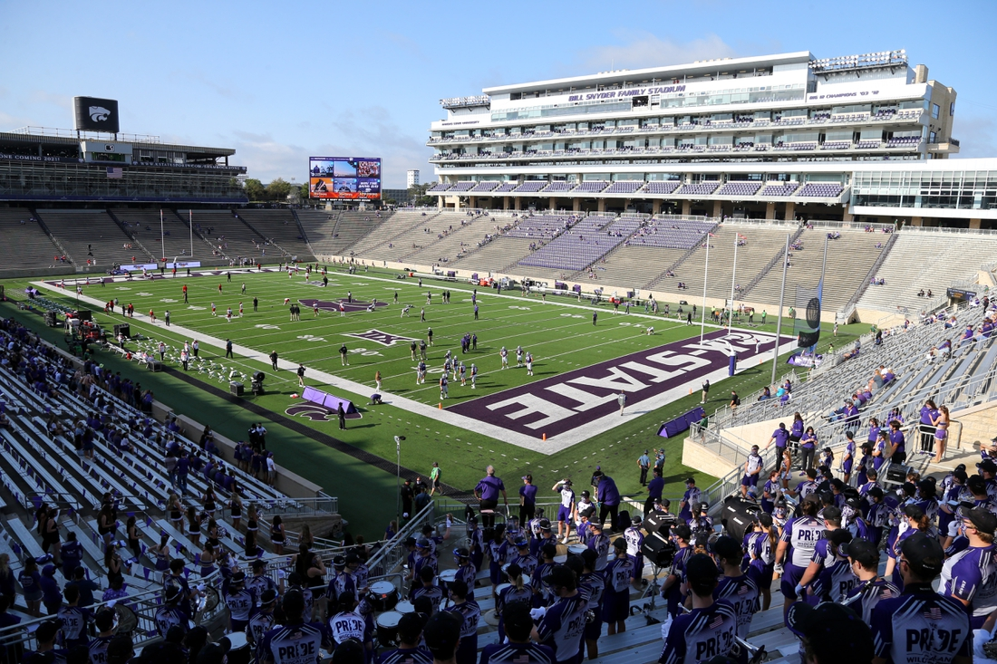 Sep 12, 2020; Manhattan, Kansas, USA; With less than an hour before kick-off, only a handful of fans are in the state before the start of a game between the Arkansas State Red Wolves and the Kansas State Wildcats at Bill Snyder Family Football Stadium. Due to COVID restrictions, approximately 12,000 fans will be allowed into the stadium. Mandatory Credit: Scott Sewell-USA TODAY Sports