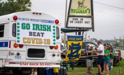 Sep 12, 2020; Notre Dame, Indiana, USA; Fans gather off-campus for the game between the Notre Dame Fighting Irish and the Duke Blue Devils at Notre Dame Stadium. Notre Dame limited seating capacity and banned tailgating on campus as part of its COVID-19 protocols. Mandatory Credit: Matt Cashore-USA TODAY Sports