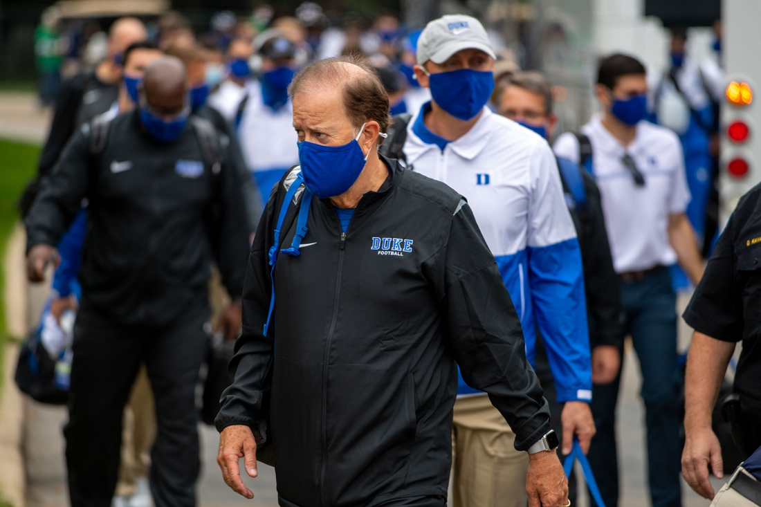Sep 12, 2020; Notre Dame, Indiana, USA; Duke Blue Devils head coach David Cutcliffe walks in to Notre Dame Stadium before the game agains the Notre Dame Fighting Irish. Mandatory Credit: Matt Cashore-USA TODAY Sports