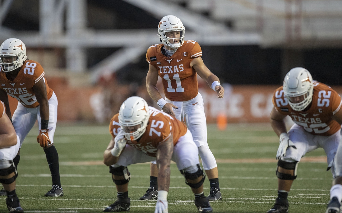 Apr 4, 2020; Austin, TX, USA; TTexas Longhorns quarterback Sam Ehlinger (11) calls out plays at the line against UTEP Miners at Darrell K Royal-Texas Memorial Stadium. Mandatory Credit: Ricardo B. Brazziell/American-Statesman via USA TODAY NETWORK
