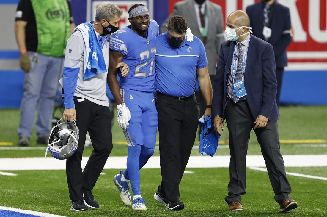 Sep 13, 2020; Detroit, Michigan, USA; Detroit Lions cornerback Justin Coleman (27) gets helped off the field with an injury during the second quarter against the Chicago Bears at Ford Field. Mandatory Credit: Raj Mehta-USA TODAY Sports