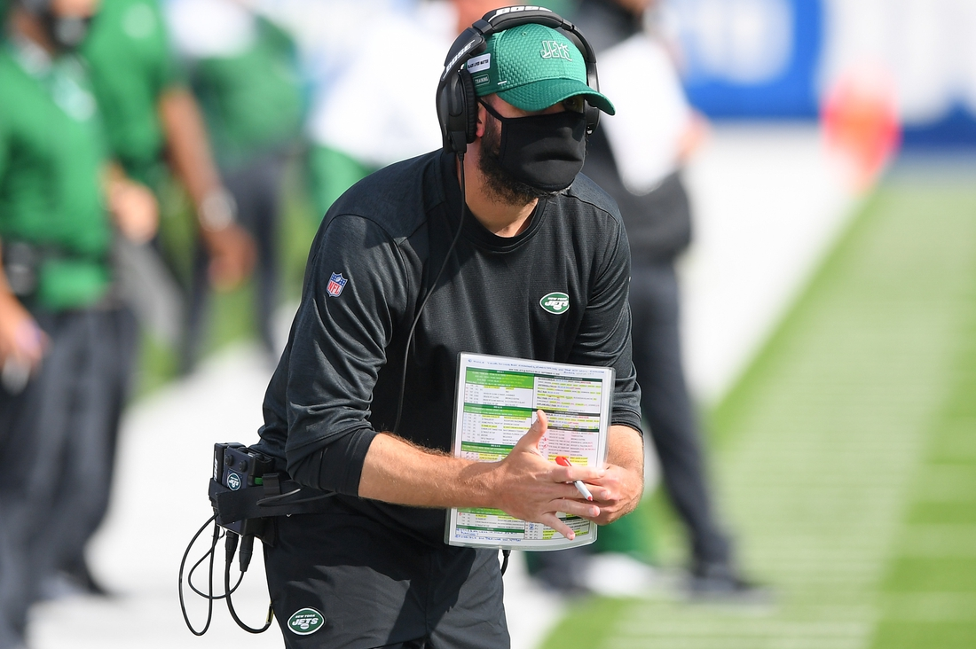 Sep 13, 2020; Orchard Park, New York, USA; New York Jets head coach Adam Gase gestures for a time-out against the Buffalo Bills during the fourth quarter at Bills Stadium. Mandatory Credit: Rich Barnes-USA TODAY Sports