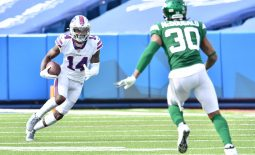 Sep 13, 2020; Orchard Park, New York, USA; Buffalo Bills wide receiver Stefon Diggs (14) sqares off against New York Jets strong safety Bradley McDougald (30) trying to avoid a tackle after making a catch in the third quarter at Bills Stadium. Mandatory Credit: Mark Konezny-USA TODAY Sports
