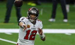 Sep 13, 2020; New Orleans, Louisiana, USA; Tampa Bay Buccaneers quarterback Tom Brady (12) throws against the New Orleans Saints during the first quarter at the Mercedes-Benz Superdome. Mandatory Credit: Derick E. Hingle-USA TODAY Sports